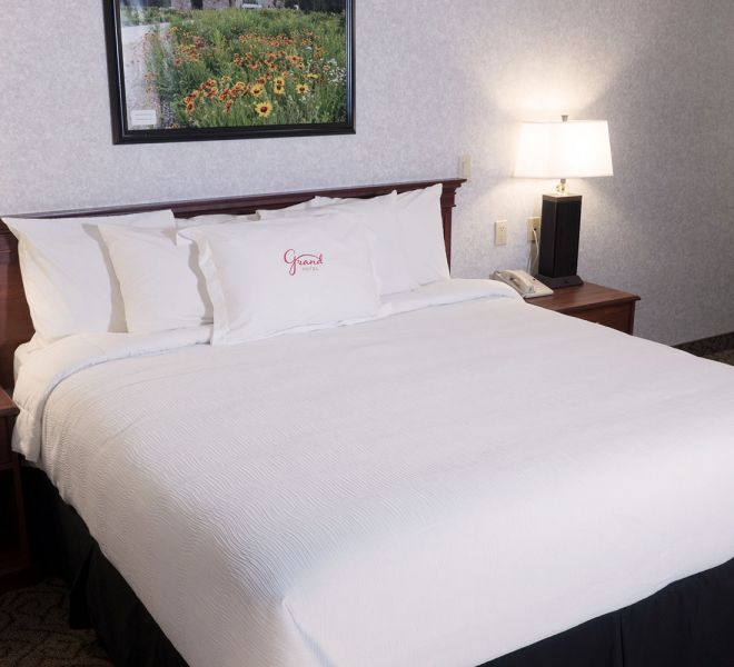 Comfortable room with monogrammed pillowcase